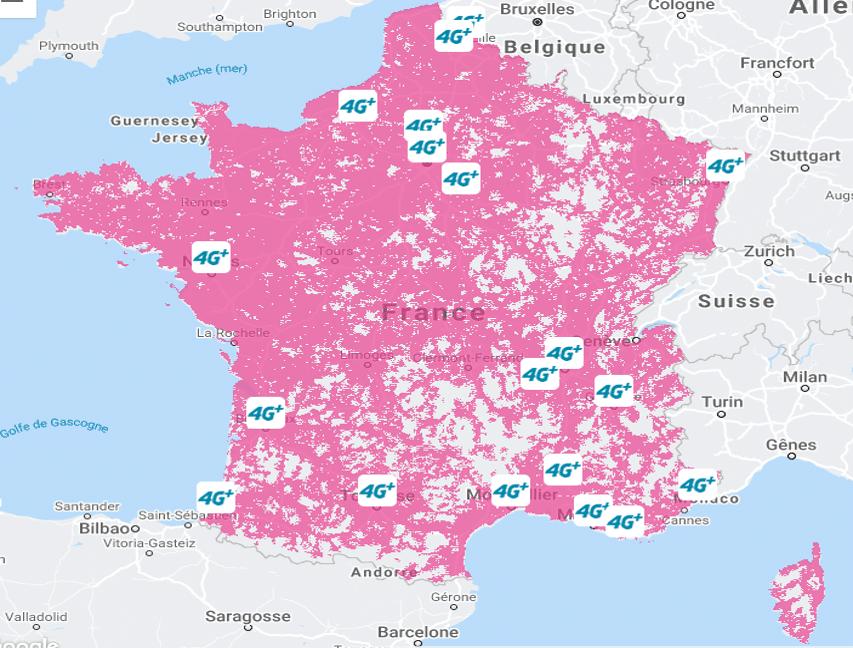 La couverture 4G de Bouygues Telecom en France