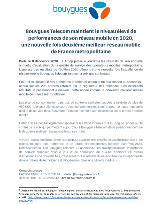 Communiqué de presse - Bouygues Telecom Entreprises - Arcep